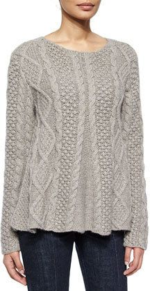 Co Cable-Knit Long-Sleeve Cashmere Sweater