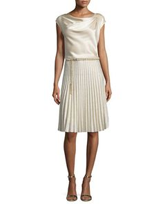 Liquid Satin Cowl-Neck Shell, Kiklos Shimmery Fit-and-Flare Skirt & Pearly Chain Belt with Tassel by St. John Collection at Neiman Marcus.