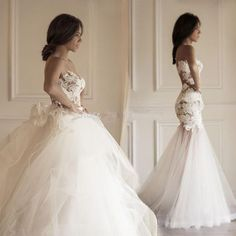 Two Pieces Strapless Gorgeous Lace Wedding Dresses, Mermaid Tulle Bridal Gown, WD0078 The wedding dresses are fully lined, 4 bones in the bodice, chest pad in the bust, lace up back or zipper back are