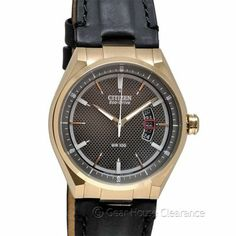 New CITIZEN Eco-Drive Mens Watch - Rose Gold Tone w/ Black Leather Band & Date  http://www.gearhouseclearance.com/servlet/the-Watches/Categories