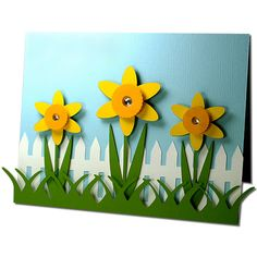 "Daffodil Fence Card-JMRush   Approximate Card size: W 5.50"" X H 4.25""       This design is compatible with both 8X12 and 12X12 mats. De..."