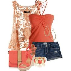So cute, except for the short shorts.  I also wouldn't do the high shoes....but, I like them!