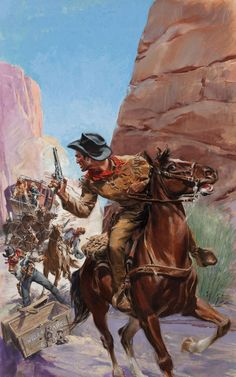 Pulp, Pulp-like, Digests, and Paperback Art, GLENN CRAVATH (American, 1897-1964). The Old West #4. Mixedmedia on board. 28.5 x 18 in.. Not signed. From the Esta... Image #1