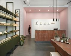 Image 9 of 20 from gallery of HASH Skincare Shop / BARDI studio. Photograph by Sona Manukyan, Ani Avagyan Dorm Design, Lounge Design, Interior Design Services, Window Display Retail, Retail Shelving, Retail Displays, Shop Displays, Window Displays, Mint Walls