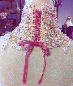 Bridal neck corset back lace silk pearls crystals real peridot citrine hand sewn uk made