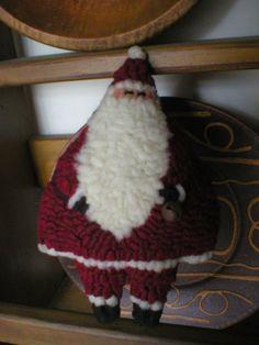 PrimiTive Folkart Roly Poly Hooked Rug Santa PATTERN   LJO Collection Hooked Rug Patterns