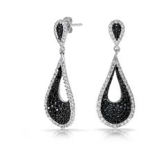 Bling Jewelry Black and White Pave CZ Modern Teardrop Dangle Earrings ($70) ❤ liked on Polyvore featuring jewelry, earrings, black, long earrings, cz earrings, teardrop earrings, druzy earrings and black and white earrings