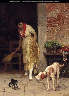 The doorstep encounter - Eugene de Blaas