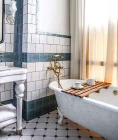 Blue And Gray Kids Bathroom Features Upper Walls Painted