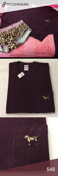 ✨🆕2  PIECE COMBO/LONGSLEEVE CREW & BOYSHORTS🆕✨ SIZE S Burgundy long sleeve crew top runs large. Very relaxed fit. Side slits at hemline. One breast pocket sporting A leopard design dog logo and same large dog logo on back. SIZE M Boy shorts with same leopard print. Cute fun combo for a pillow fight. Both BNWT No trades. tags will be pulled off for no returns(on all of my listings) PINK Victoria's Secret Tops Tees - Long Sleeve