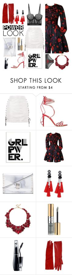 """Power Girl"" by melisafash on Polyvore featuring Topshop, Alexandre Vauthier, Stupell, Christian Lacroix, Proenza Schouler, Sole Society, Yves Saint Laurent, Lancôme, Alessandra Rich and girlpower"
