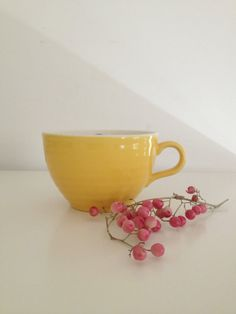 vintage sunny yellow teacup by rosyrandom on Etsy, $12.50