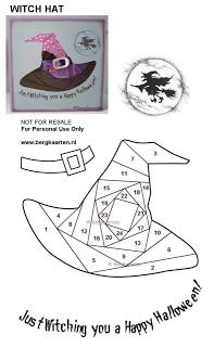 Irisvouwen: Halloween: Witch hat - Iris card how to Iris Folding Templates, Iris Paper Folding, Iris Folding Pattern, Paper Pieced Quilt Patterns, Card Patterns, Halloween Quilts, Halloween Cards, Fun Fold Cards, Folded Cards