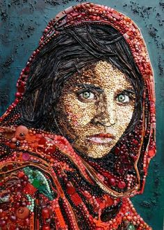 Portrait from recycled material