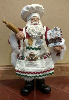 Possible Dreams® Clothtique Santa Baker w/ Gingerbread House Figurine Father Christmas, Santa Christmas, Little Christmas, All Things Christmas, Vintage Christmas, Christmas Crafts, Vintage Santa Claus, Vintage Santas, Department 56