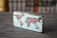 Phone Case, World Map Colored Sketch Custom iPhone Case Fits 4 And 4s  - unique iphone cases, gift, globe