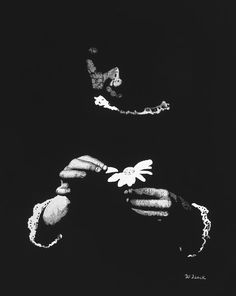 Innocence Painting by Wendell Fiock Daisy Image, Pointillism, Black Canvas, Art For Sale, Black And White, Hands, Painting, Drawing, Black White