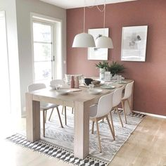 Rosa dager: Se hvor fint det ble når malte med LADY Pure Color i fargen 2856 Warm Blush! Warm Dining Room, Dining Room Walls, Dining Room Design, Room Wall Colors, Room Color Schemes, Home Living Room, Living Room Decor, Dining Room Inspiration, Ikea