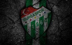 Download wallpapers Bursaspor, logo, art, Super Lig, soccer, football club, grunge, Bursaspor FC