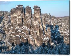 Jenny Rainbow Fine Art Photography Acrylic Print featuring the photograph Saxon Switzerland Snowy Rocks by Jenny Rainbow Art Prints For Home, Fine Art Prints, Framed Prints, Thing 1, How To Make Snow, Park Homes, Time Art, Art Techniques, Beautiful Landscapes