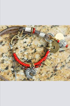 Soulful, Exotic Leather & Bead Mixed Media Boho Tribal Charm Bracelet $95 Tribal Bracelets, Red Jewelry, Copper And Brass, Silver Charms, Exotic, Mixed Media, Gemstones, Beads, Leather