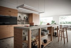 Photo by Atlas Concorde USA on March 19, 2021. May be an image of kitchen. Exterior Design, Interior And Exterior, Stone Look Tile, Kitchen Images, Kitchen Tile, Large Format, Tile Design, Porcelain, How To Plan