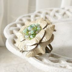 Ruffles Leather Flower Ring in Ivory and Celadon ❤ by Viridian
