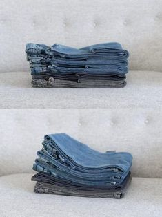 The way to fold even jeans Konmari, Home Organization Hacks, Closet Organization, Organizing, Organizar Closets, Folding Jeans, Small Room Bedroom, Home Hacks, Uniqlo