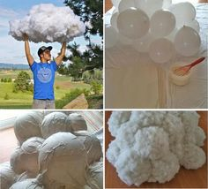 Ballon clouds, need to try this one. How To Make Clouds, Making Clouds, Diy And Crafts, Crafts For Kids, Cloud Decoration, Cloud Lights, Diy Cloud Light, Led Diy, Classroom Decor