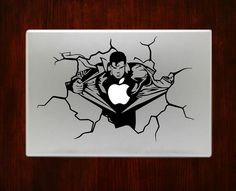 "Superman Bursting Out Cracked Wall Decal Sticker Vinyl For Macbook Pro Air 13"" Inch 15"" Inch 17"" Inch Decals"