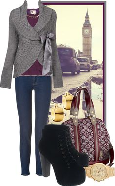 """Purples and Grays"" by ssquared on Polyvore"