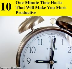 10 One-Minute Time Hacks That Will Make You More Productive...For more creative tips and ideas FOLLOW https://www.facebook.com/homeandlifetips