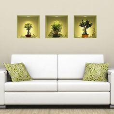 Sada 3 samolepek s efektem Ambiance Bonsai Trees On Spot Stickers Papillon 3d, Stickers 3d, Ambiance Sticker, Home Library Rooms, 3d Wall Decals, Wall Art, Home Interior, Interior Decorating, Decluttering