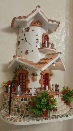 Clay Wall Art, Clay Art, Miniature Crafts, Miniature Houses, Creative Walls, Creative Crafts, Bottle House, Doll House Crafts, Christmas Village Houses