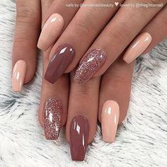 There are three kinds of fake nails which all come from the family of plastics. Acrylic nails are a liquid and powder mix. They are mixed in front of you and then they are brushed onto your nails and shaped. These nails are air dried. Cute Acrylic Nails, Acrylic Nail Designs, Cute Nails, Pretty Nails, Acrylic On Natural Nails, Acrylic Nails Almond Glitter, Acrylic Nails Autumn, Peach Acrylic Nails, Natural Nail Art