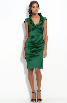 Xscape Ruffle Collar Stretch Satin Sheath Dress, espically loving hte green color.