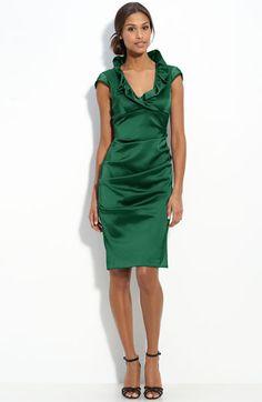 Xscape Ruffle Collar Stretch Satin Sheath Dress, espically loving hte green color.