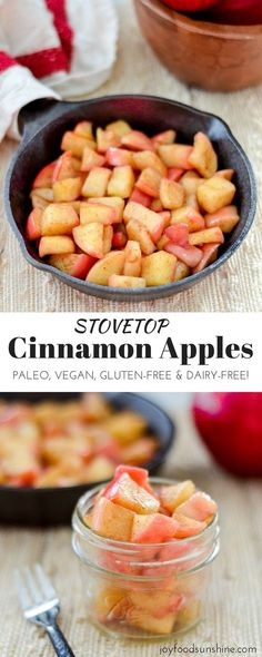 These Stovetop Cinnamon apples taste like a warm apple pie but they come together in a fraction of the time and are SO much healthier! This recipe is gluten-free dairy-free refined sugar free vegan AND paleo! Perfect for breakfast a snack or dessert! Baby Food Recipes, Whole Food Recipes, Snack Recipes, Healthy Recipes, Apple Recipes Gluten Free, Snacks Ideas, Fruit Recipes, Dairy Free Thanksgiving Recipes, Food Ideas