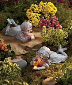Garden Children Boy Girl Statue W/ Solar Lighted Firefly Jar Whimsical  Flowerbed Yard Outdoor Sculpture Decor.