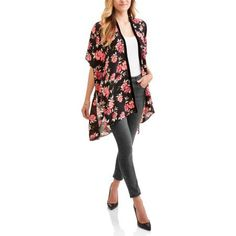 Faded Glory Women's Magnolia Floral Kimono, Multicolor