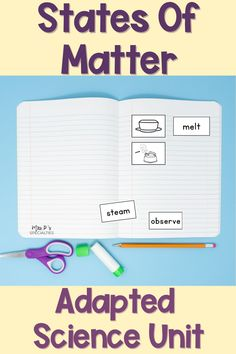 Help students break down & understand abstract science concepts with this adapted science unit designed for students who need visual supports, leveled activities, direct instruction and high levels of varied practice in order to learn. This unit breaks down the language & vocabulary associated with states of matter concepts. Grab it now for your autism class, self-contained & life skills classroom. Also great for inclusion settings, alternate assessment classes & moderate to severe disabilities. Science Centers, Science Topics, Science Curriculum, Science Lessons, Teaching Science, Life Skills Classroom, Autism Classroom, Classroom Resources, Classroom Ideas
