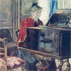 Maria Yakunchikova (Russian, 1870-1902) - At the Piano, 1880