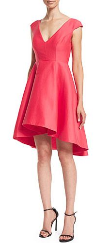 Coral Cap-Sleeve V-Neck Fit & Flare Dress