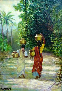""": """"South Indian Water Carriers"""" (Original art by Chung Ae Kim) walking away Art Village, Indian Village, Indian Women Painting, Indian Artist, Indian Artwork, Indian Art Paintings, Indian Drawing, Deco Jungle, Composition Painting"""