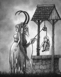 Perchta #xmasmonster #achristmasbestiary #monsters #artwork #drawing #donkenn #johnkennmortensen follow the link in the bio