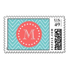 Teal and Coral Chevron with Custom Monogram Postage Yes I can say you are on right site we just collected best shopping store that haveReview          Teal and Coral Chevron with Custom Monogram Postage Review on the This website by click the button below...