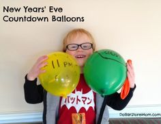 New Years' Eve Countdown Balloons - pop one every hour! McKenzie Dollar Tree , have a kids party in the upstairs Modern Christmas Ornaments, Ribbon On Christmas Tree, Christmas And New Year, New Year's Eve Celebrations, New Year Celebration, Dollar Tree Gift Card, Holiday Fun, Holiday Crafts, New Year's Eve Countdown