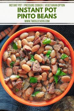 This Instant Pot Pinto Beans recipe will quite possibly be the best Mexican-style beans you've ever had. | Instant Pot Pinto Beans | Pressure Cooker Pinto Beans | Mexican Pinto Beans | Pinto Beans Recipe | How To Cook Pinto Beans | Mexican Beans | Mexican Instant Pot Recipes | TwoSleevers | #twosleevers #pintobeans #instantpotrecipes #mexicanbeans #mexicanrecipes Instant Pot Pinto Beans Recipe, Pinto Bean Recipes, Best Instant Pot Recipe, Hip Pressure Cooking, Instant Pot Pressure Cooker, Pressure Cooker Recipes, Slow Cooker, Barbacoa Recipe, Cooking Dried Beans