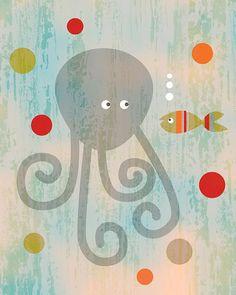 octopus and fish art illustration