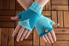Fingerless Mittens handknit in light and dark blue by KnitographyByMumpitz